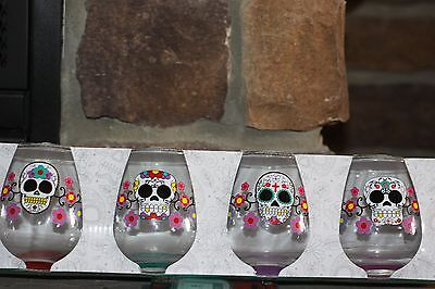 SUGAR SKULLS DAY OF THE DEAD LOT 4 X STEMLESS WINE GLASS GLASSES SET RARE HTF!! - Day Of The Dead Wine Glasses