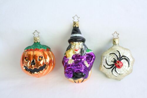 Vtg Inge-Glas Germany Christmas Ornaments Halloween Witch Spider Rare Lot of 3