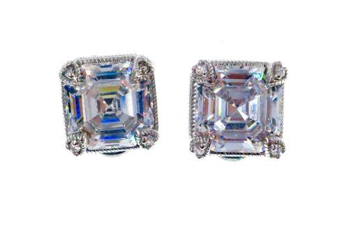 Judith Ripka Sterling Silver Square Asscher Cut CZ Stud Earrings