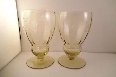 Vintage Lancaster Amber Topaz Yellow Glass Etched Flower Pair of Glasses