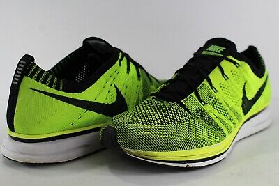 Nike Flyknit Trainer Volt Yellow Black White Size 8 532984-700