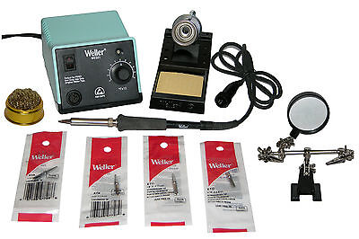 Weller Wes51 Analog Soldering Station With 4 Tips  Tip Cleaner   Helping Hands