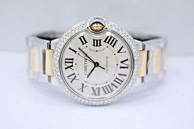 CARTIER BALLON BLEU 2 TONE 18k YELLOW GOLD 36MM DIAMOND ENCRUSTED WATCH W2BB0012