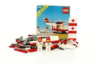 Lego Classic Town Hospital Set 6691 Red Cross Helicopter 100% complete + instr.