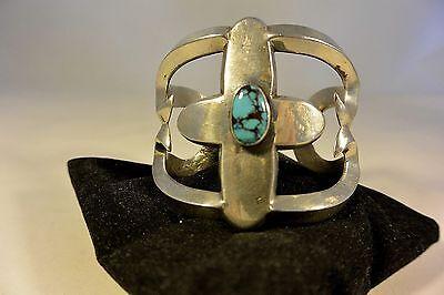 89 gr. ADAM YAZZIE  Navajo BISBEE Turquoise Tufa Cast BRACELET Sterling Silver
