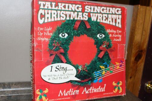 "Vintage Gemmy The Original Talking Singing Christmas Wreath 20"" 1997 in box"