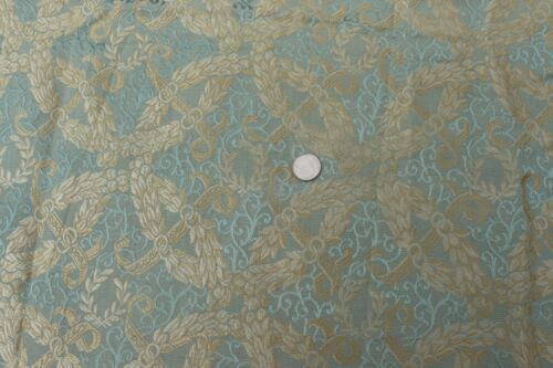 "Antique c1850 French Lyon Silk Jacquard Blue Fabric~L-28"" X W-48"""