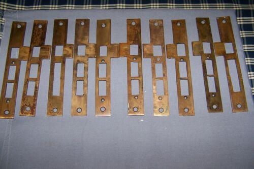 10, Old, Large, Cast Brass, Door Strike Plates