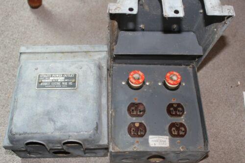 3pc LOT Antique Vintage 20 Amp Utility Power Outbox Fuse Box Midwest Electric