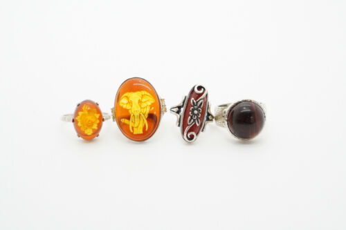 LOT of 4 Sterling Silver Gemstone Carved Faux Amber Rings, 24.5g