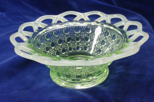 VINTAGE IMPERIAL VASELINE OPALESCENT GLASS BOWL TWO ROW LACED EDGE DISH