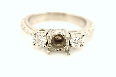 NEW platinum 3 stone diamond engagement ring semi mount engraved 6-6.5mm center