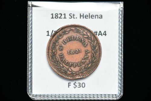 1821 St. Helena Copper Half Penny KM#A4