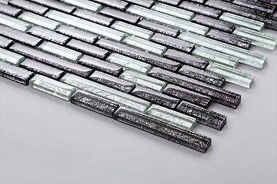 Klein Muster Glasmosaikfliesen Schwarz Silber Backstein-Design (MT0093 Muster)