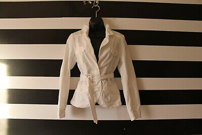 H&M Women's Jacket Blazer Belted Button Front White Cotton Blend Size 4