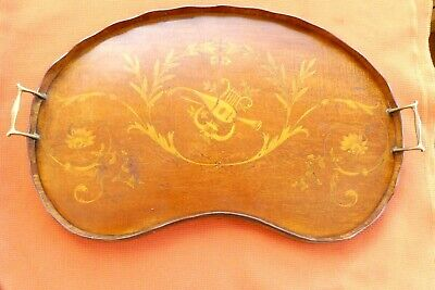 Mahogany Kidney-Shape Butlers Tray, with Brass Handles & Musical Inlay