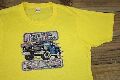 VTG 80's Pickups & Hot Rods Truck T-Shirt M 50/50 Glitter Iron On Screen Stars