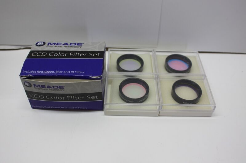 """Meade 04530LF CCD Telescope Interference Color Filter Set 1.25"""" Red Blue IR Grn"""
