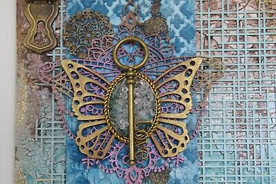 Mixed Media Butterfly and Key Canvas in shades of blue and gold