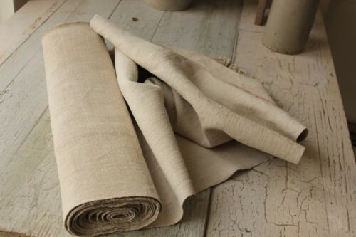 Antique grainsack fabric homespun HEMP 6 yards long linen red signature stripe