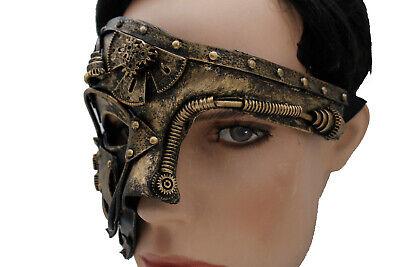 Unisex Gold Half Face Mask Gothic Steampunk Halloween Costume Robot Machine Part