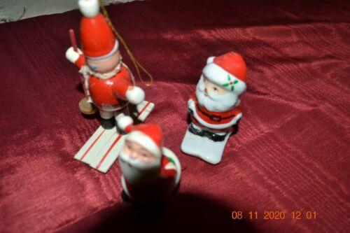 Vintage Christmas Skier Ornaments -  wooden & ceramic + Kissing Santa (ceramic)