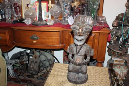 Antique African Wood Carving Religious Spiritual Man Statue Metal Accents