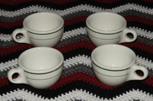 8 buffalo china restaurant ware white with green stripe coffee mugs cups
