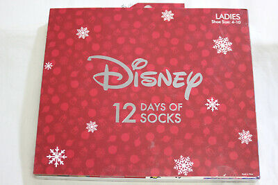 NEW IN BOX Disney Women's 12 Days of Christmas Socks Size 4-10 Advent Calendar