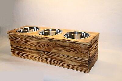 Triple Medium Elevated Cat, Dog, Pet Dish Feeding Stand  Dog or Cat Feeder
