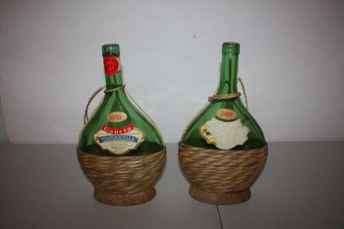 "2 VINTAGE 1970 &1969 Wicker Wrapped Gancia Valpolicella Wine Bottles "" Empty """