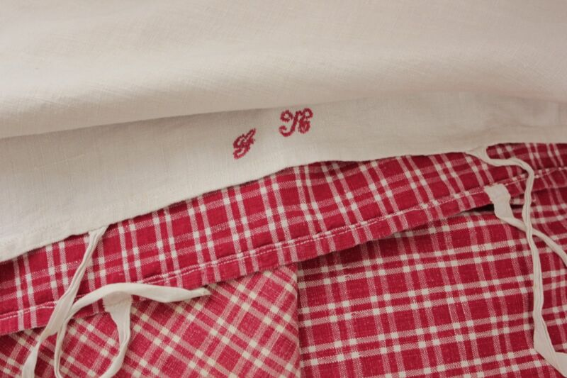 Antique plaid linen pillow cover / case Kelsch homepun fabric RED monogrammed