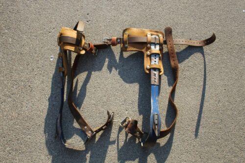Klein Tools 8210 R & L Tree Pole Climbing Gaffs Spikes R7B004682 Leather