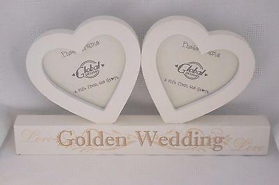 50th Wedding Anniversary Photo Frames - Photo Frame Double Heart Golden Wedding Anniversary 50th 50 Years Wooden F0890E