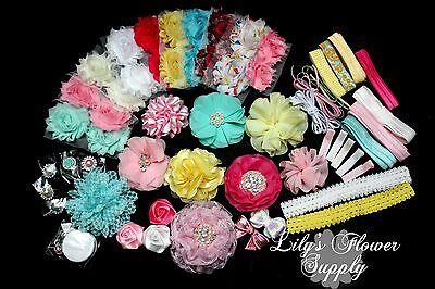 Baby Shower Headband Kit - Deluxe DIY Hair-Bow & Headband Kit - Handmade - Girl - Diy Headband Kit