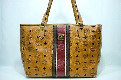 100% Authentic MCM Cognac Visetos Shopper Shoulder Bag With Warranty Cards