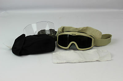 Used Desert Tan Sand Military GI Genuine Issue Goggles WITH Dark Lenses & Case
