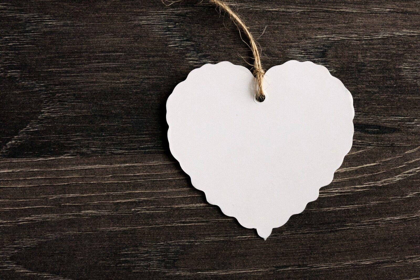 25 Geschenkanhänger Herz Anhänger weiß Etiketten Kraftkarton Papieranhänger
