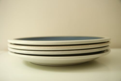 Edith Heath Ceramics French Blue Dinner Plates White Rim Set 4 Large Vintage