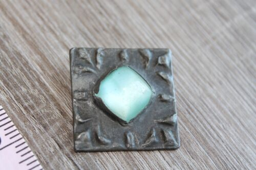 Vintage Antique Handmade brooch Germany Blue glass cabochon One of a kind