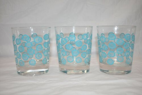 IKEA Retro Mid Century Set of 3 High Ball Cocktail Glass Turquoise Dotted