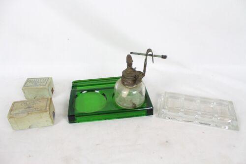 Vintage Dentist Dentistry Accessory Alcohol Burner Green Glass Tray Mynol Rare