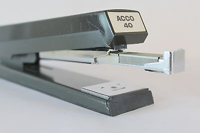 Acco 40 Black Stapler Retro Desk Office Front Load Heavy Duty Vintage Usa S1