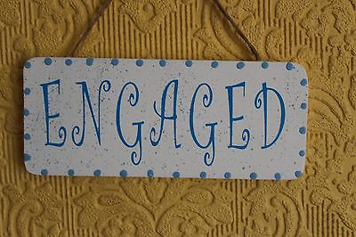 Lovely Decorative Handcrafted  ENGAGED VACANT Sign Blue