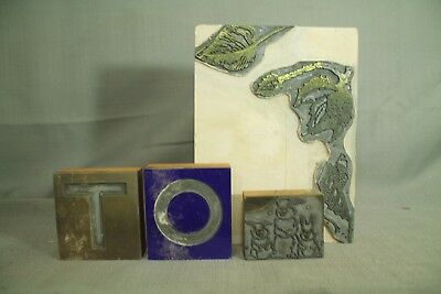 Vtg Printing Press Print Wood Blocks Letters Leaves Bunny Rabbits Chain Anchor