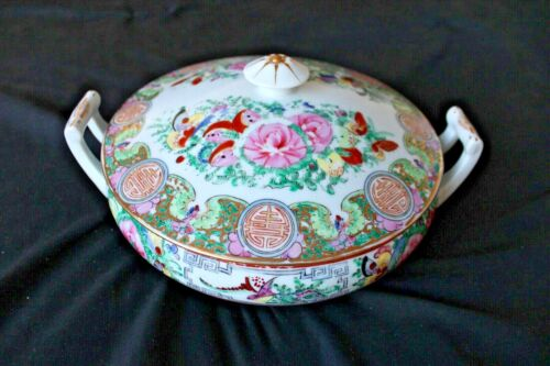 Vintage Antique White Ceramic Large Soup Tureen with pattern, hand painted