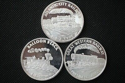 Types Of Balloons (1 oz .999 Fine Silver Train Art Rounds Balloon Stack 4-4-2 Type - Lot of)