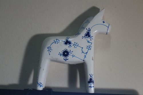 Vintage Denmark Hand Painted Larsen Carved Wood Horse