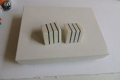 Estate Hand Crafted Black & White Chunky Geometric Pierced Earrings