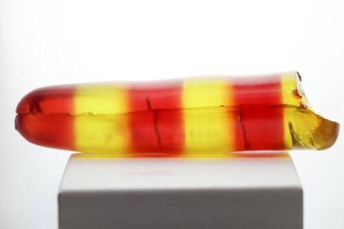 98gr Sapphire Tourmaline Bi-Color Orange/Yellow Lab Created Faceting Rough Stone